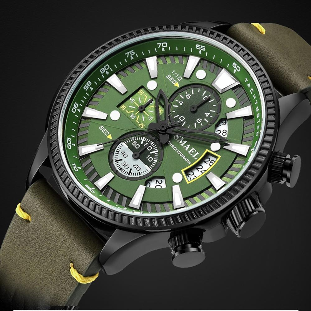 2020 New Smael Green Casual Leather Band Fashion Quartz Gold Watch Mens Watches Top Brand Luxury Waterproof Clock Relogio|Quartz Watches| - AliExpress