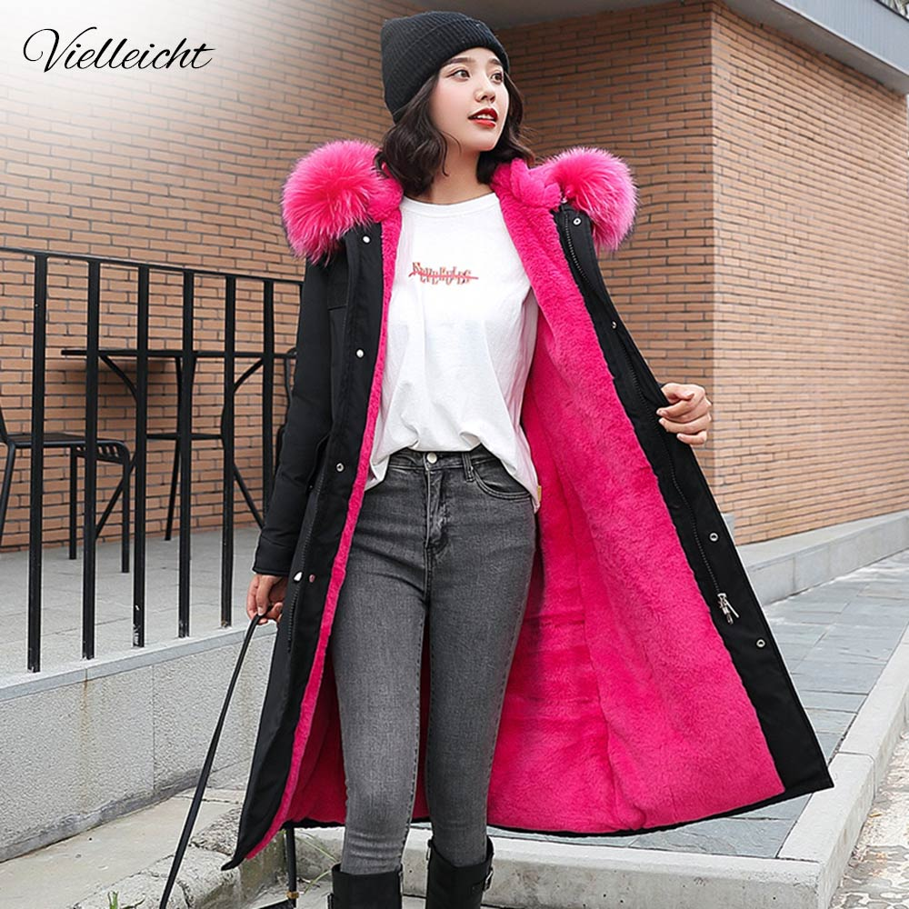Vielleicht -30 Degrees Snow Wear Long Parkas Winter Jacket Women Fur Hooded Clothing Female Fur Lining Thick Winter Coat Women(China)