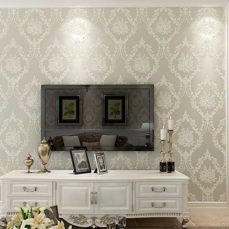 Simple European Style 3D Foam Damascus Wallpaper Nonwoven Fabric Bedroom Living Room Warm Beige Wallpaper