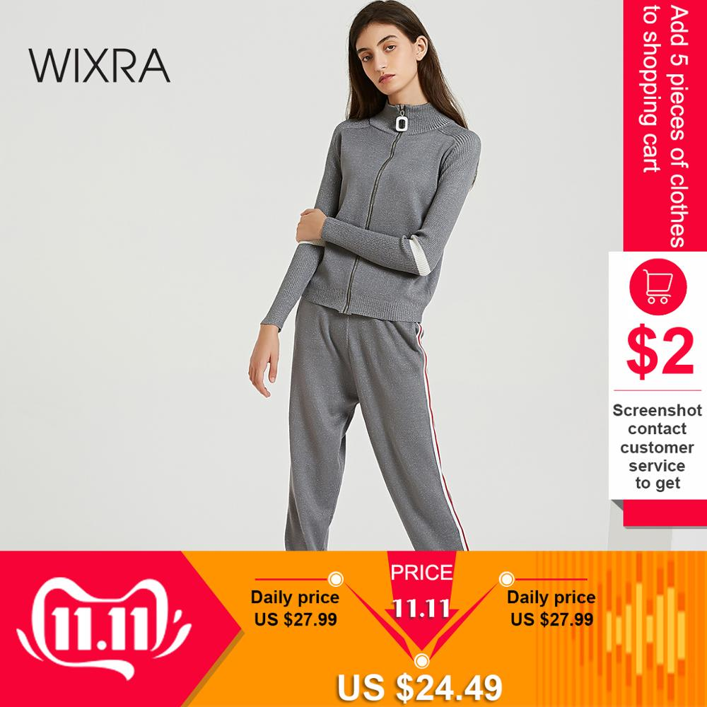 Wixra Women Shiny Sweater Suit And Sets Casual Striped Knit Sweaters Pants 2 Piece Set Casual Knitted Trousers+ Cardigan Tops