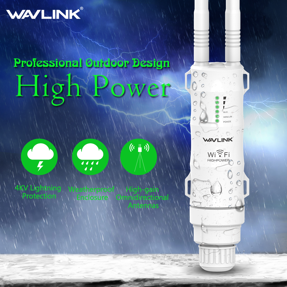 Wavlink N300 High Power Outdoor Weatherproof 30dbm Wireless Wifi Router/AP Repeater/Extender 2.4G 15KV Outer Detachable Antenna