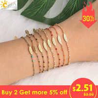 CSJA acier inoxydable bracelets pour Femme élégant Miyuki Bracelet bijoux couleur or plume charmes chaîne lien Femme Pulsera S410