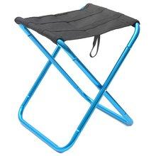 Портативный складной стул для кемпинга черный маленький алюминиевый