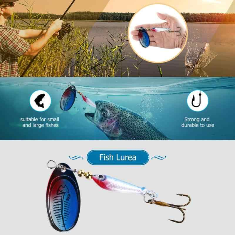 Berbentuk Ikan Berputar Pemintal Umpan Payet Memancing Umpan Bionic Umpan Buatan Bass Keras Umpan Sendok Treble Hook Tackle Alat
