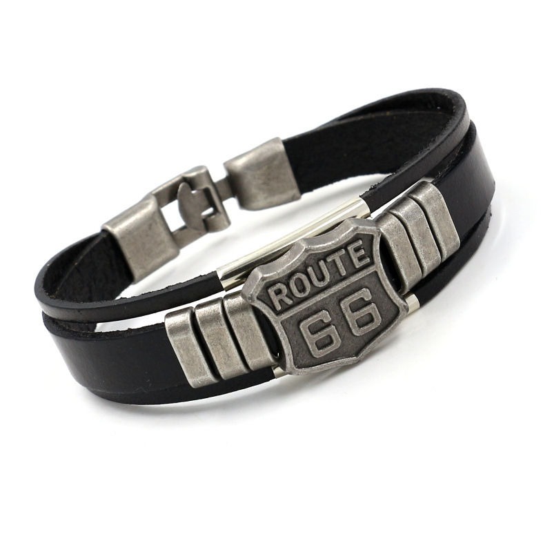 New Men's Leather Bracelet with Hot ROUTE 66 60s Road Sign Motorcycle Biker Rider Black Bangles Males Jewelry