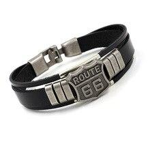 Nueva pulsera de cuero para hombre con ruta caliente 66 60s señal de carretera motocicleta motorista brazaletes negros joyería para hombres