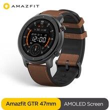 Умные часы Amazfit GTR 47 мм, водонепроницаемые умные часы 5 АТМ, аккумулятор 24 дня, GPS, управление музыкой, кожаный силиконовый ремешок