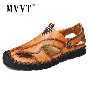 Image 1 - 2020 חדש אופנה אמיתי עור גברים סנדלי קיץ נעלי נוחות קלה גברים חוף סנדלי עור גברים נעליים בתוספת גודל