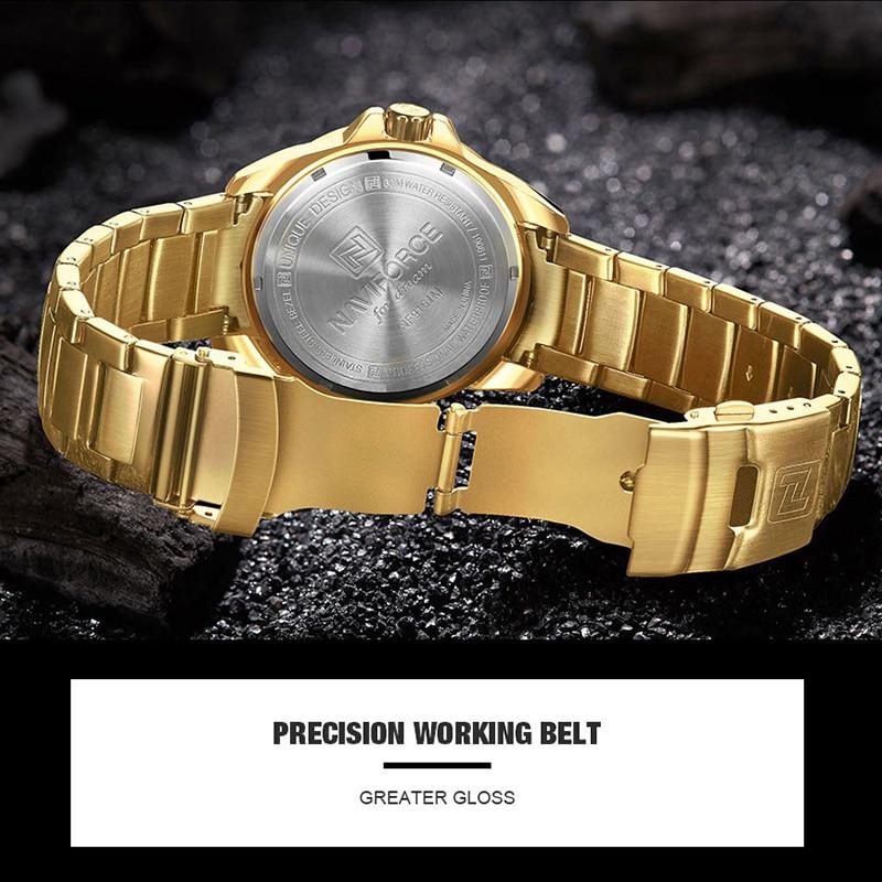 Image 4 - NAVIFORCE Military Fashion Gold Watch Men Luxury Quartz Wristwatch Sport Casual Clock Wateproof Watches Relogio Masculino 2019-in Quartz Watches from Watches
