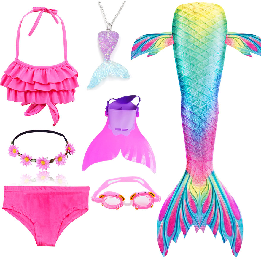 Kids Swimmable Mermaid Tail for Girls Swimming Bating Suit Mermaid Costume Swimsuit can add Monofin Fin Goggle with Garland