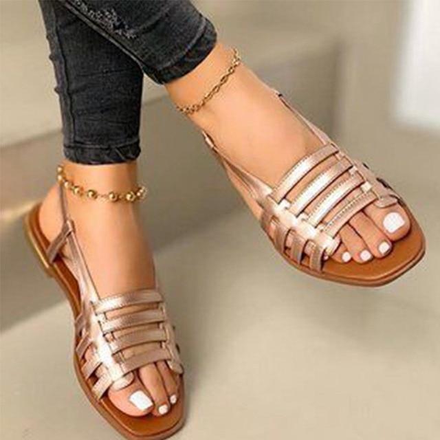 2020 sandalias de mujer gladiador de Punta abierta Casual zapatos de playa de mujer ahuecados planos de mujer calzado de verano al aire libre talla grande 2