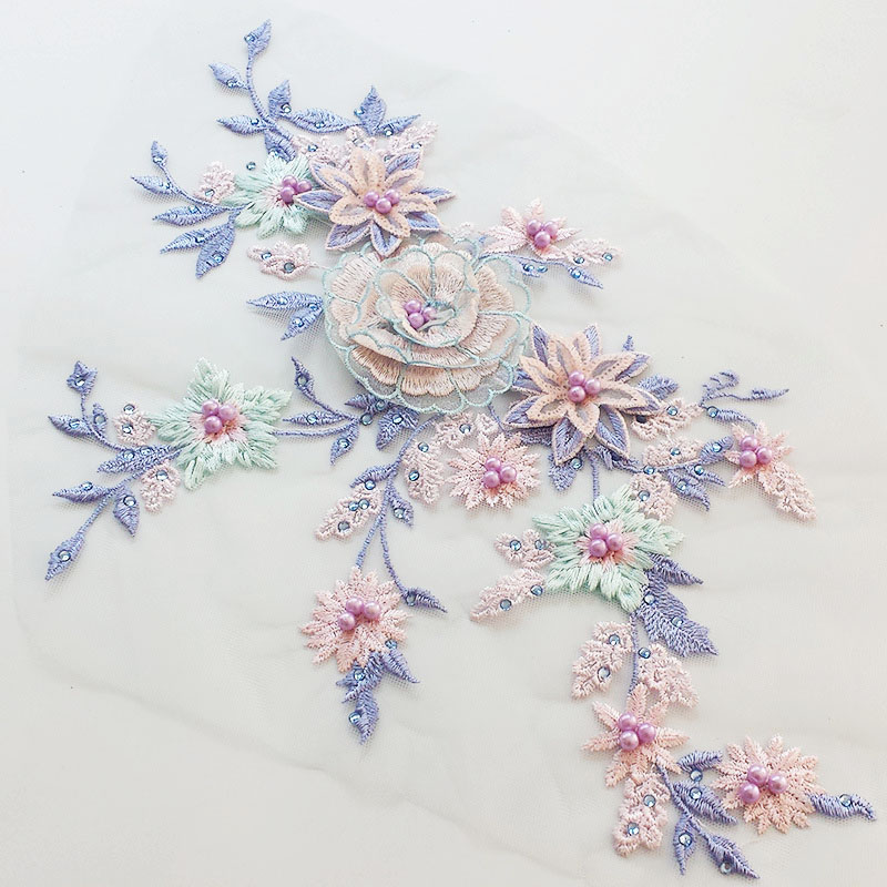 1Pair /2PC Multicolor DIY Handmade Beaded Applique Flower Lace Clothing Accessories 3D Stereo Finished Flower Accessories