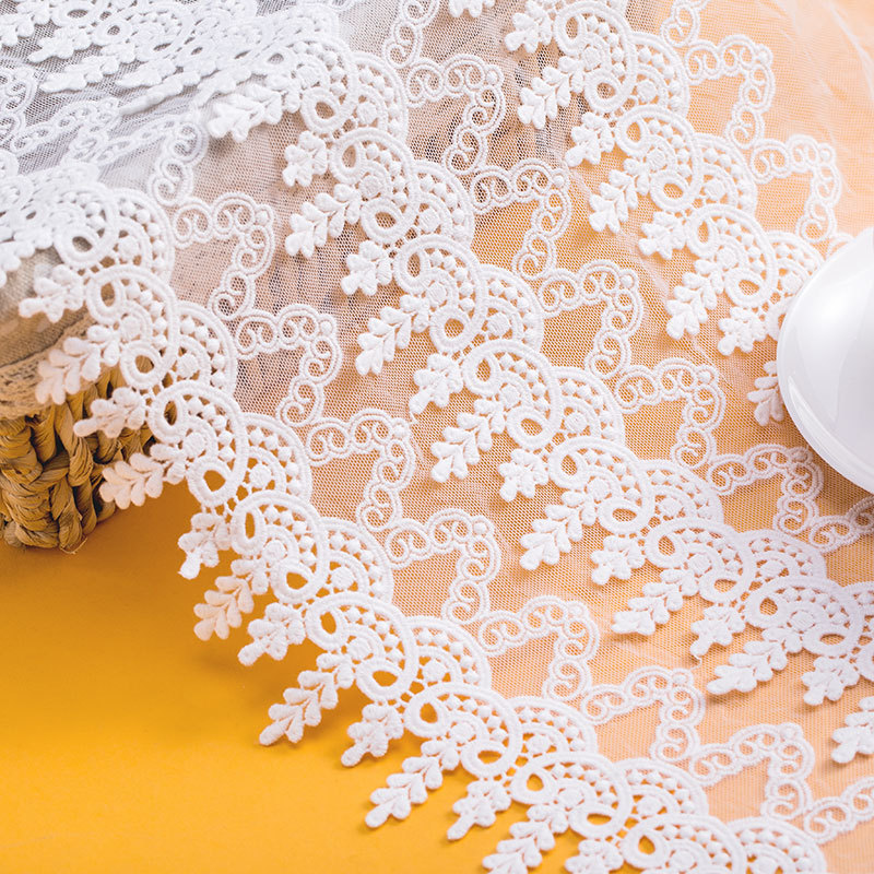 5yards/lot White100% Cotton Embroidered Lace Fabrics Women's Clothing Diy Lace Trim Lace Wedding Fabrics Cloth Accessories