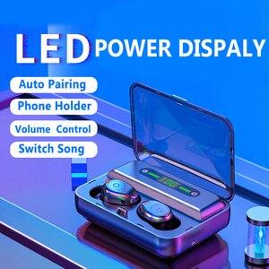 Image 2 - 新しい F9 5 Bluetooth 5.0 TWS イヤホンデジタルディスプレイヘッドセットタッチボタン LED ワイヤレスイヤホン真フォンステレオ