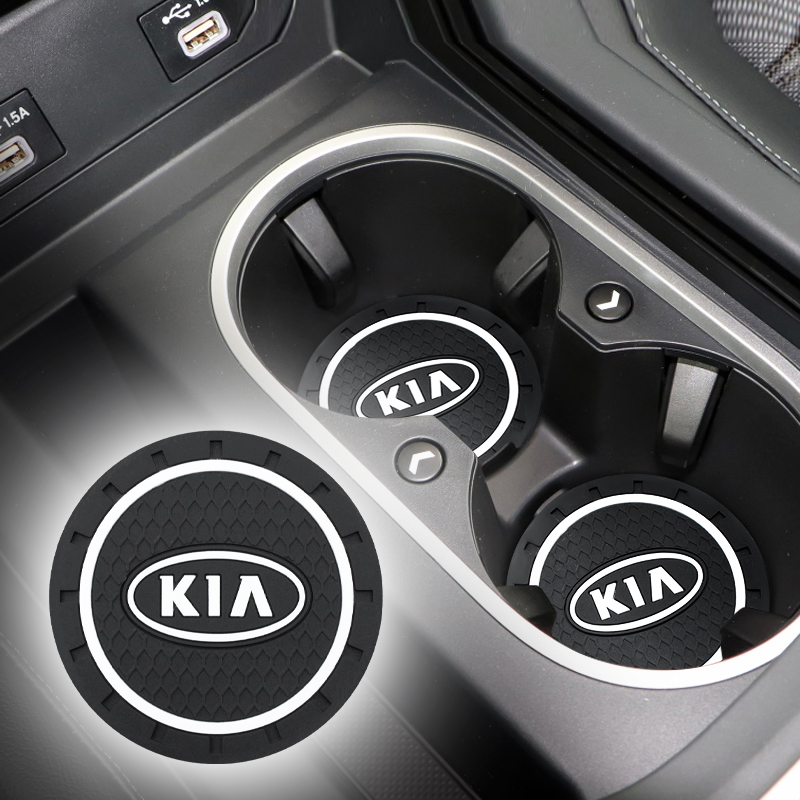 Fashion Car Coaster Silicone Epoxy Coaster Car Decoration For Kia K2 K3 K5 K9 Rio 3 4 Ceed Sorento Picanto Sportage Accessories