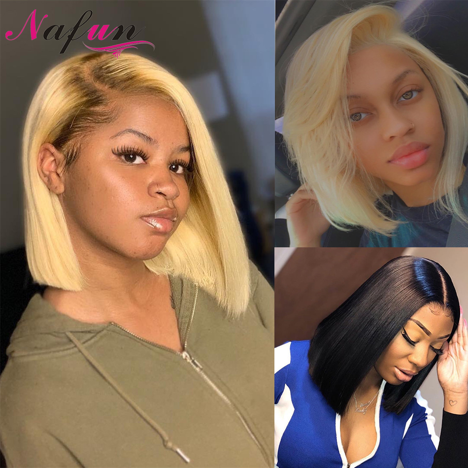 Blonde Lace Front Wigs Rainbow 613 Straight Human Hair Wigs Transparent Lace Wigs Remy Peruvian Lace Front Bob Wigs For Women