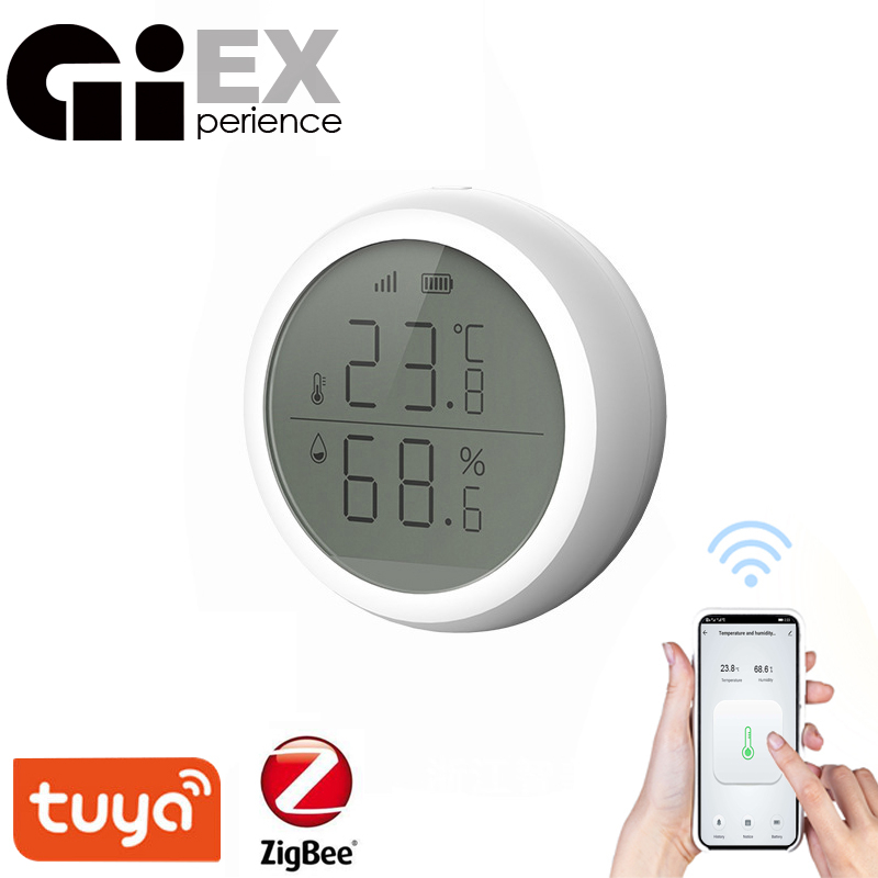 ZigBee Smart Temperature And Humidity Sensor LED Screen Thermometer Amazon Alexa Google Home High low Alarm Tuya Smart Home