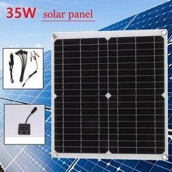 35W 12V/5V Panel słoneczny podwójny USB słoneczna ładowarka telefonu komórkowego z ładowarką samochodową monokrystaliczny na zewnątrz Camping awaryjne światło