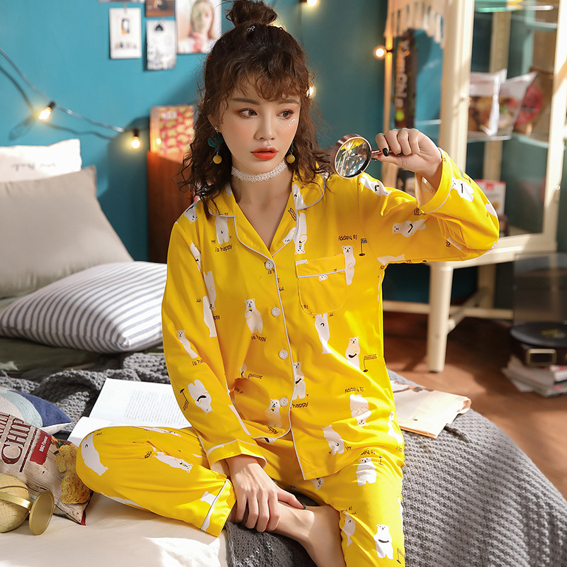 JULY'S SONG Cotton 2 Pieces Pajamas Set Women New Printed Colorful Sleepwear Long Sleeve Pajamas Female Sleep Homewear