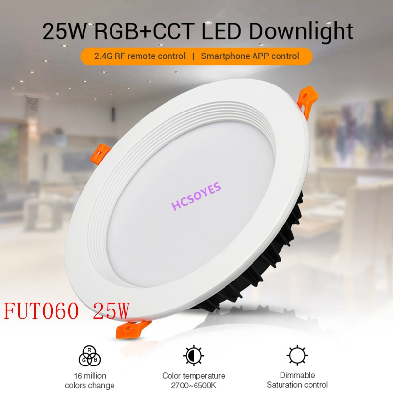 Milight 25W LED Downlight AC100-240V FUT060 Dimmable RGB+CCT Recessed Led Panel Lights AC110V 220V Recessed Led Ceiling