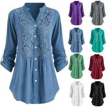Plus Size Blouse women блузка женская Summer autumn tops and blouses Button Lace V Neck Long Sleeve shirts #3 цена 2017