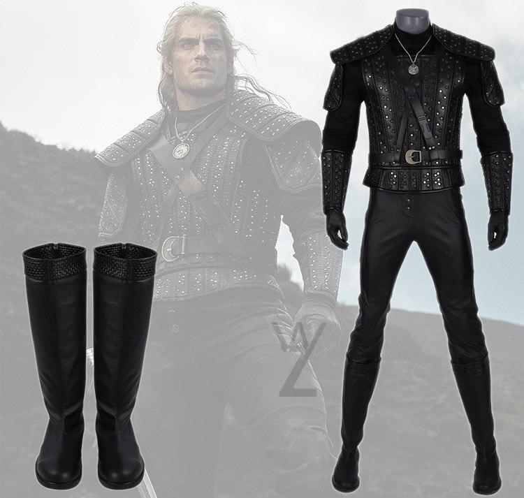 Cool homme Halloween accessoires date The Witcher 3 Geralt de Rivia Cosplay Costume rivetage gilet pantalon noir cuir bottes