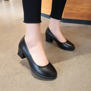Image 1 - Rimocy office lady classic black leather pumps 2019 spring 5cm square heels slip on working shoes woman casual all match sandals