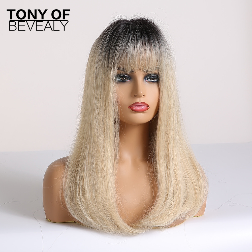 Image 2 - Long Straight Black to Beige Ombre Synthetic Wigs With Bangs For Women Natural Daily Party Hair Wigs Heat Resistant FiberSynthetic None-Lace  Wigs   -