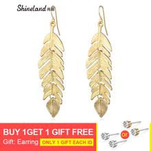 Shineland 1 pairs Gold Color Leaf Vintage Dangle Earrings For Women Drop Fashion Jewelry Brincos Pendientes Gifts 2019