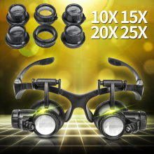 10X 15X 20X 25X Magnifier Double Eye Lens Magnifying Glass Jeweler Loupe Optical Lens Tool with LED Light for Watch Repair цена