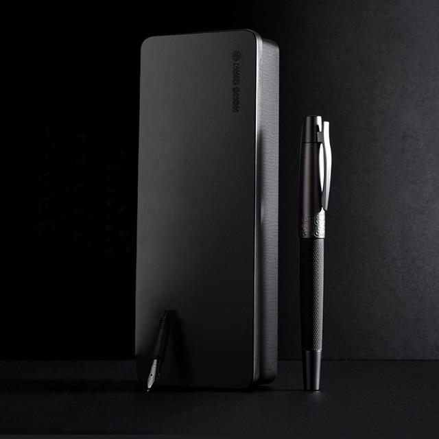 Fountain Pen ink Full Metal Clip Pens HongDian Stainless Steel Black Army General Fountain-Pen Nib 0.4mm 0.5mm Office Supplies 3
