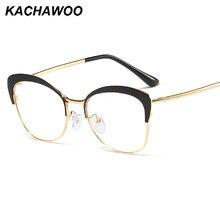 Kachawoo limpar lente olho de gato quadros feminino rosa metal ouro prescrição óculos miopia estilo retro senhoras 2020 venda quente