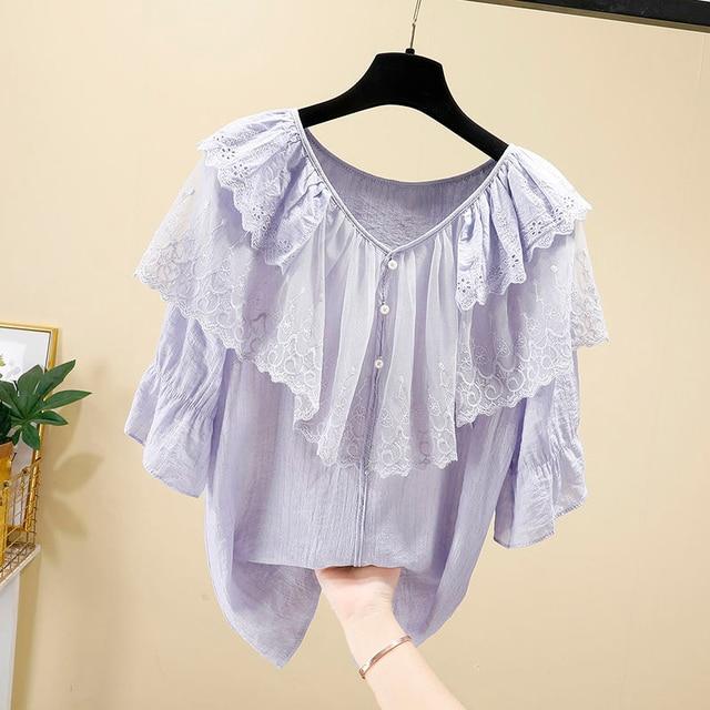 Women Spring Summer Style Chiffon Blouses Shirts Lady Casual Short Sleeve Ruffles Decor V-Neck Chiffon Blusas Tops DF3818 3