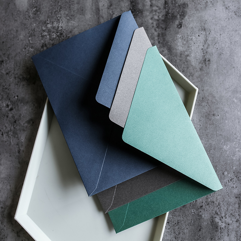 5pcs/lot Business Style Thick Western Envelopes Gray/Green/Blue Vingte Invitation Envelopes School Office Supplies