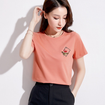 New 2020 Summer Plus Size Tops For Women Slim Short Sleeve Cotton Embroidery O Neck T-shirt Black Pink 3XL Clothes AE0015
