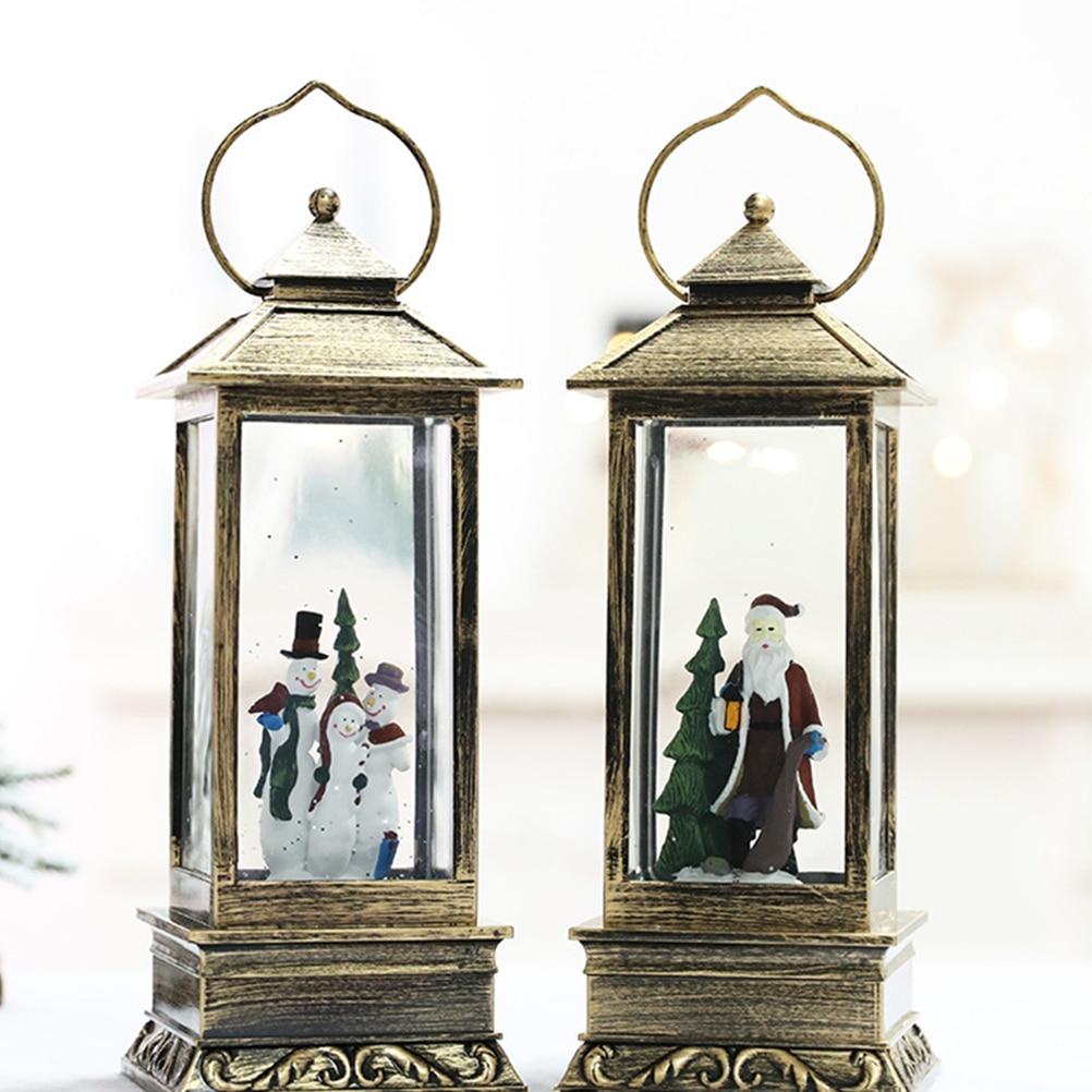 1PC Hanging Lantern Glowing Glass Rectangular Christmas Light Snow Lantern Hanging Lamp For Festival Decoration - 4