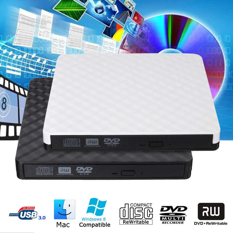 USB 3.0 Slim Portable Optical Drives Kasus Eksternal DVD RW CD Writer Drive Burner Reader Pemain untuk Mac Laptop PC