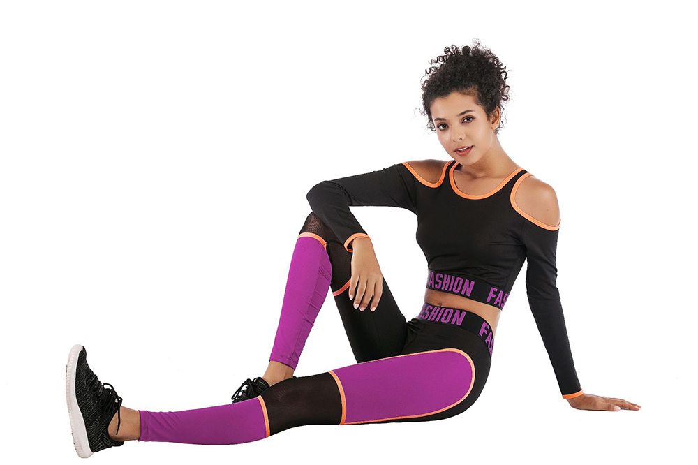 Sexy Strapless Back Hollow Yoga Set letra Patchwork elástico apretado manga larga ropa Leggings ropa deportiva entrenamiento Fitness Suit - 2