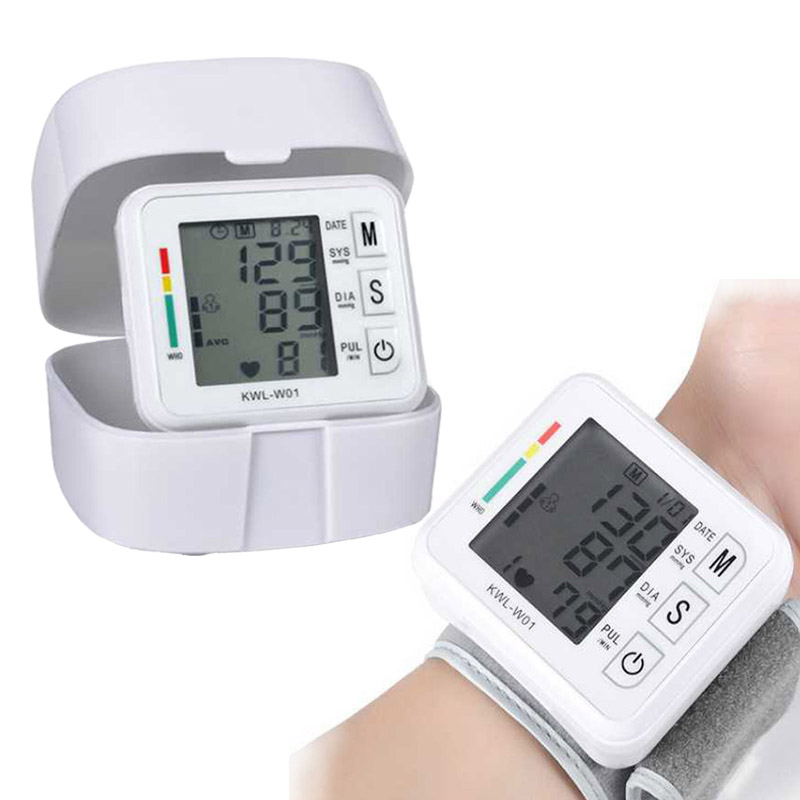 Home Health Care Blood Pressure Meter Pulse Measurement Tool Portable LCD Upper Arm Blood Pressure Monitor Tonometer Machine