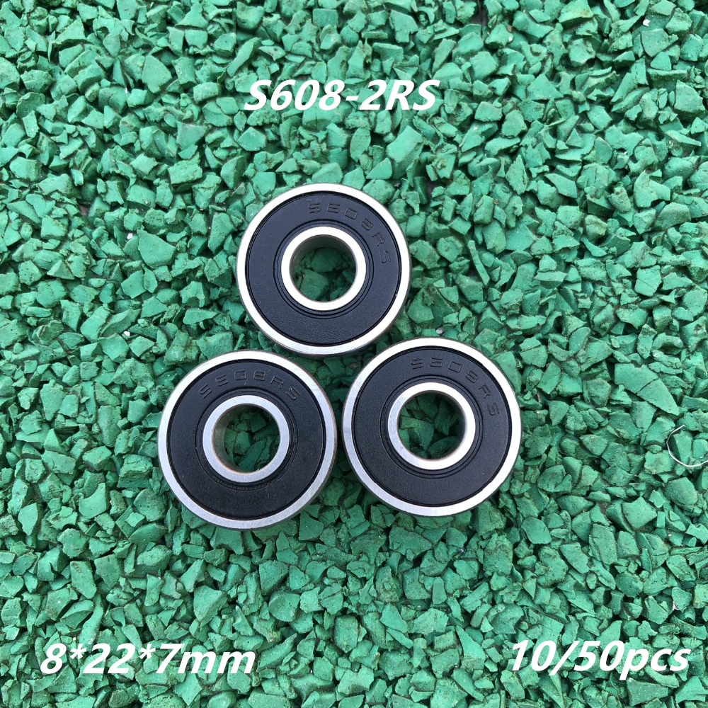 10/50pcs ABEC-5 S608-2RS stainless steel 440C deep groove ball <font><b>bearing</b></font> S608 RS <font><b>608</b></font> 8x22x7mm motor roller skate <font><b>bearings</b></font> image