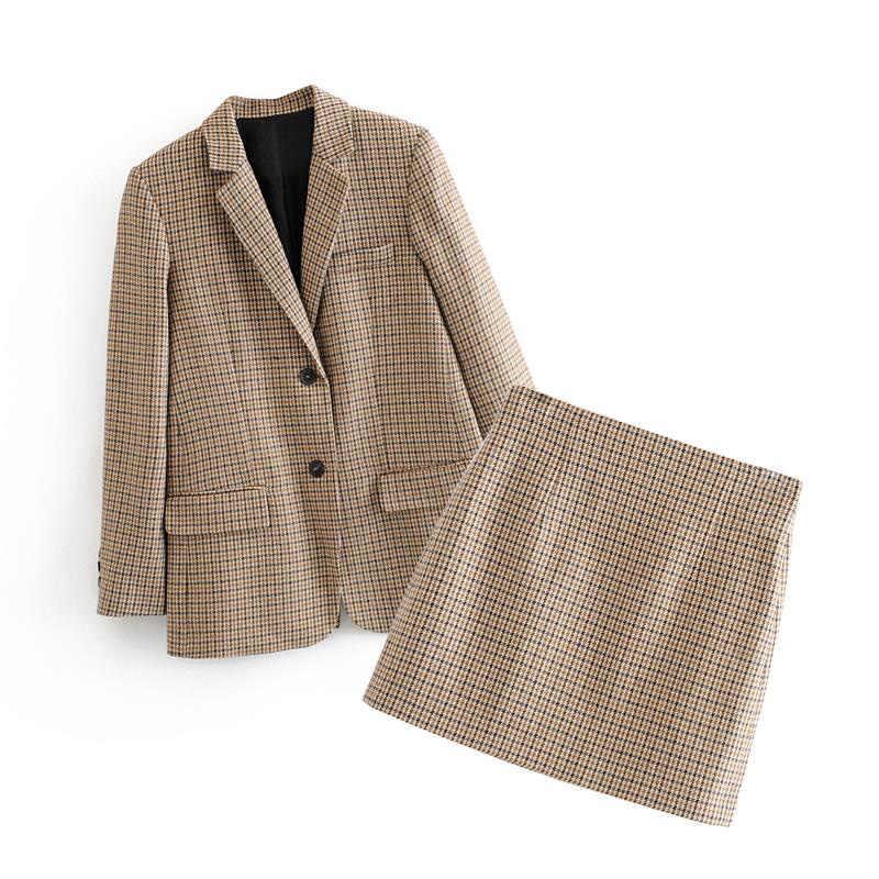 Vrouwen Plaid Tweed Rokken Pak 2020 Nieuwe Lente Lange Mouw Houndstooth Office Blazer Jacket & Rok 2 Stuks Sets Vrouwen suits