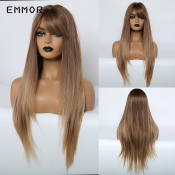 EMMOR Long Straight Honey Brown Ombre Synthetic Wig with bangs for White Black Women Layered Daily Cosplay Hair Wigs stylish medium layered capless straight black browm mixed synthetic wig for women
