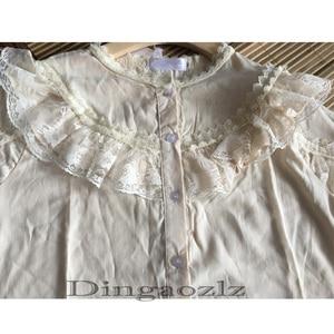 Image 5 - Dingaozlz موضة بلوزات من الدانتيل طويلة الأكمام أنيقة الإناث الدانتيل خياطة بلوزة غير رسمية 2019 جديد الكورية المرأة قميص