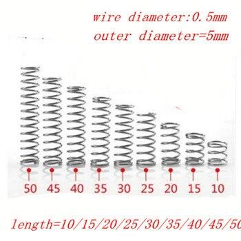 ¡20 piezas 0,5mm 0.5x5xL de acero inoxidable RESORTE DE COMPRESIÓN! Diámetro exterior = 5mm de longitud 5/10/15/20/25/30/35/40/45/50