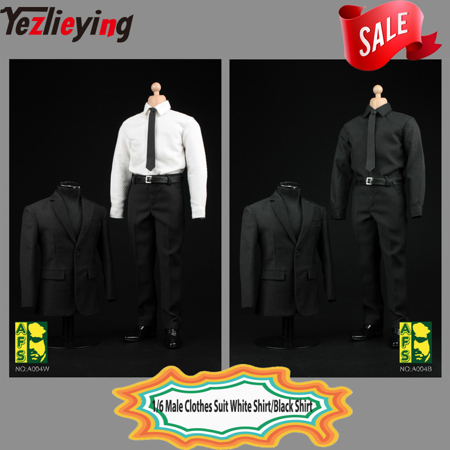 """1//6 Scale Black White Business Suit Agent Clothes For 12/"""" Hot Toys Male Figure"""