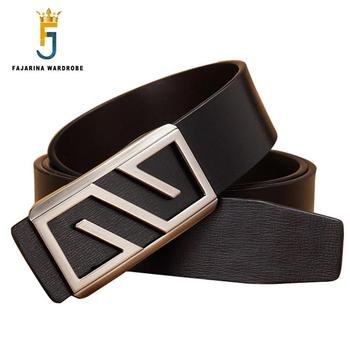 FAJARINA Design Quality Double-side-use Genuine Leather Belt Fashion Letter Slide Buckle Metal Belts for Men Accessories LUFJ253
