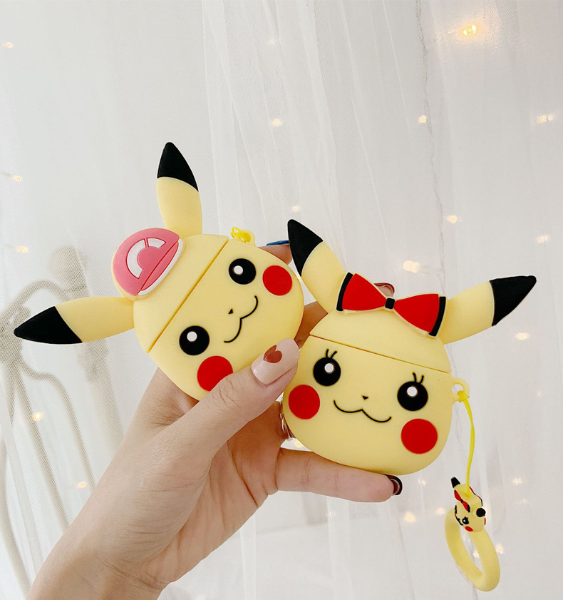 Cute Cartoon <font><b>Pikachu</b></font> for Apple <font><b>Airpods</b></font> Wireless Bluetooth Headset <font><b>Case</b></font> Accessories Protective Cover Keychain Jewelry image