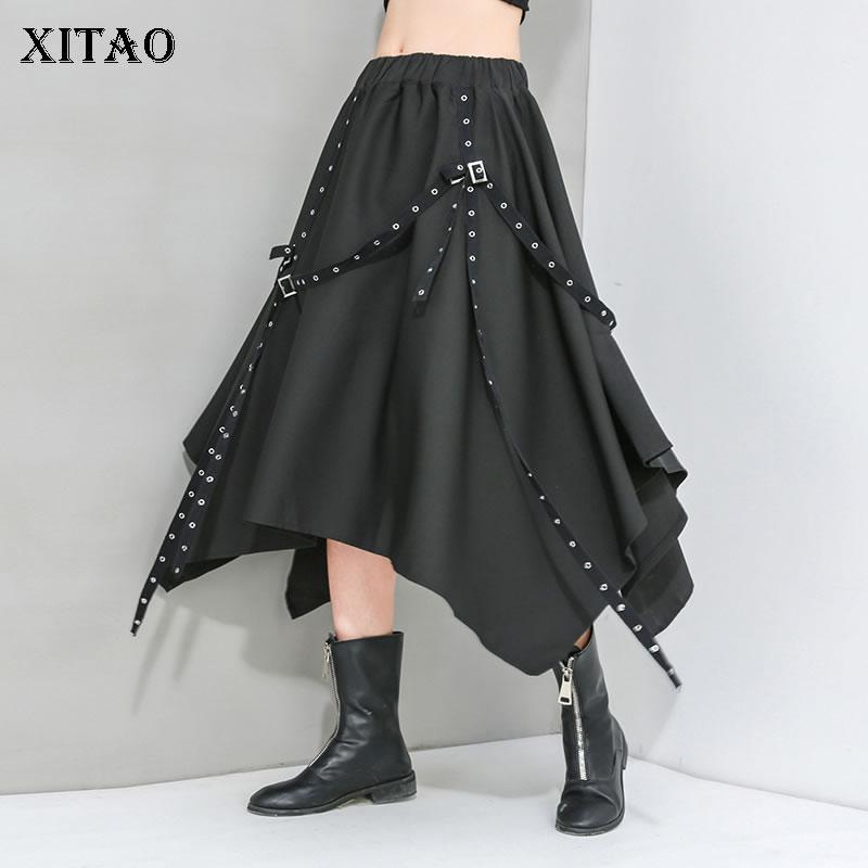 XITAO Irregular Sequined Skirt Fashion New Women Patchwork Tassel Elastic Waist Small Fresh Casual Style 2020 Skirt DMY4328