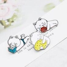 Finger cat Funny Cat enamel pins Hard lapel Badges Brooches Backpack Hats Accessories