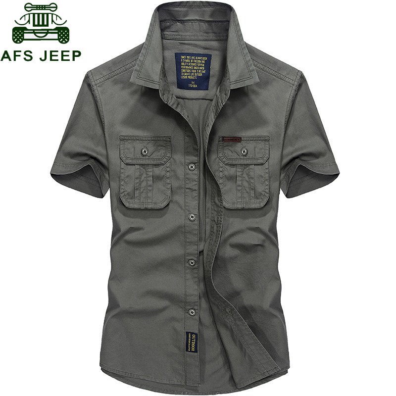 AFS JEEP Summer Short Sleeve Cargo Shirt Men Military Mens Shirts Casual Slim Fit Chemise Homme Cotton Shirt Camisa Masculina